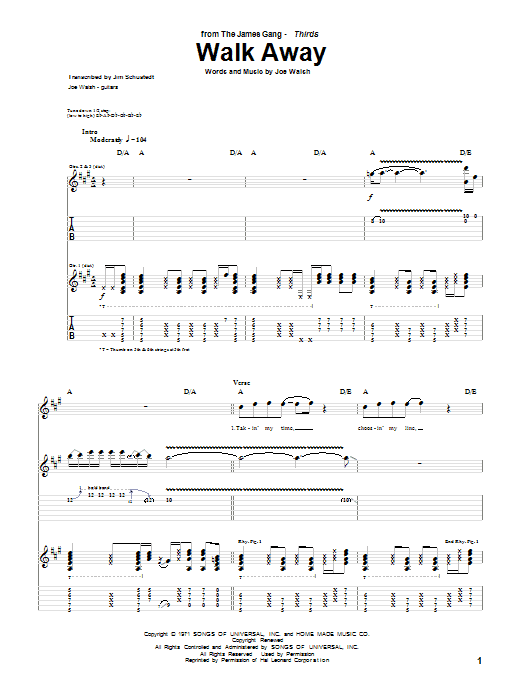 Walk Away by The James Gang - Guitar Tab - Guitar Instructor