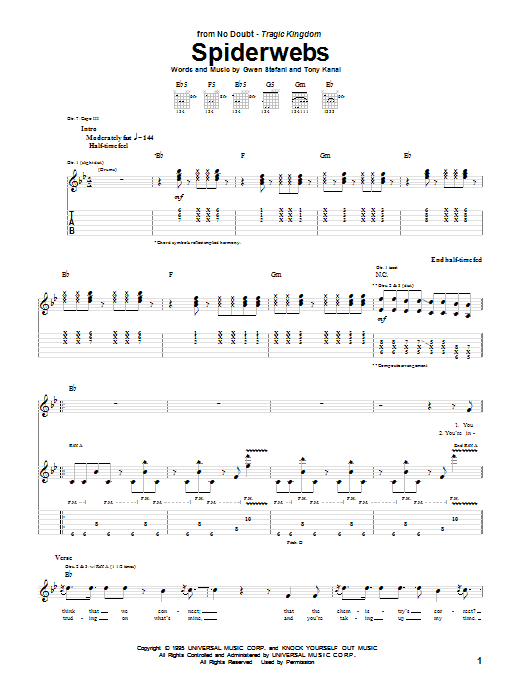 Spiderwebs Sheet Music