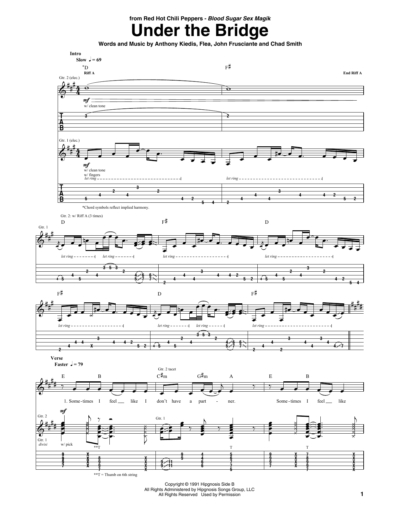 Under The Bridge Guitar Tab by Red Hot Chili Peppers (Guitar Tab u2013 68044)