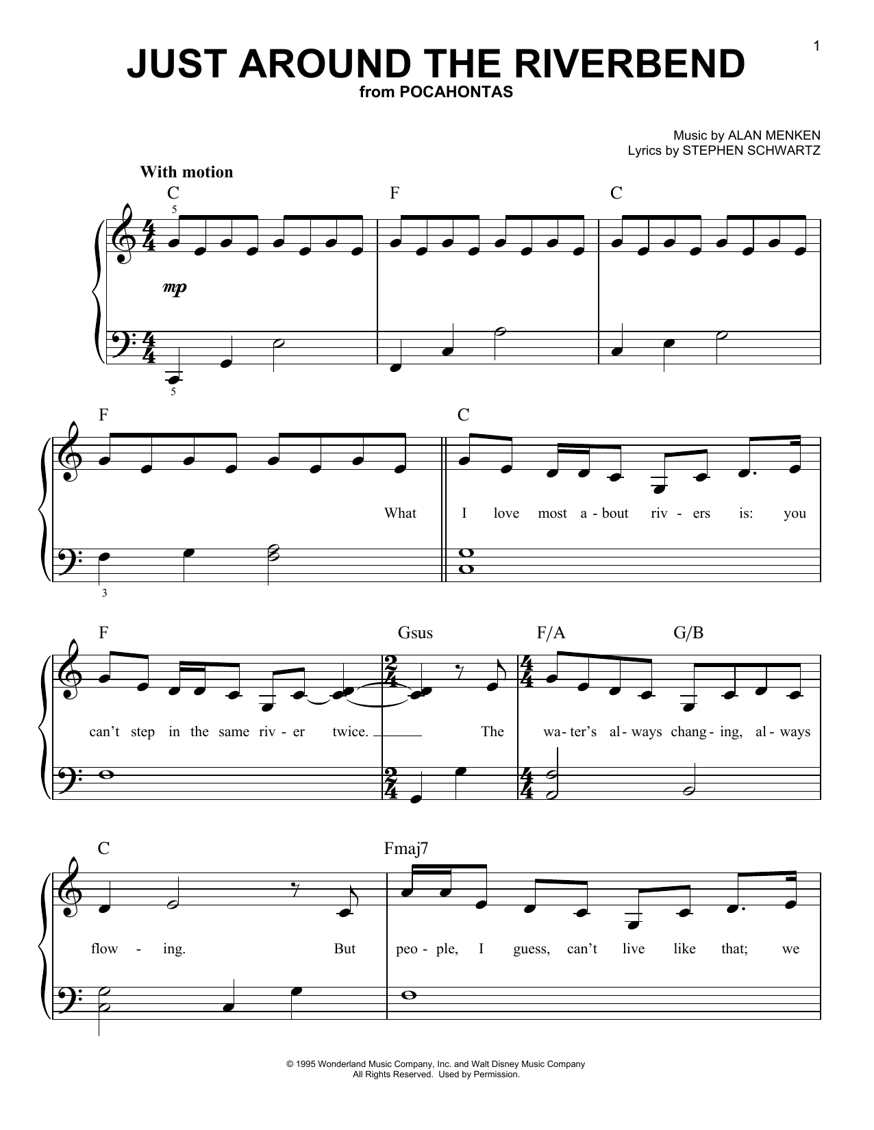 Just Around The Riverbend (from Pocahontas) Sheet Music