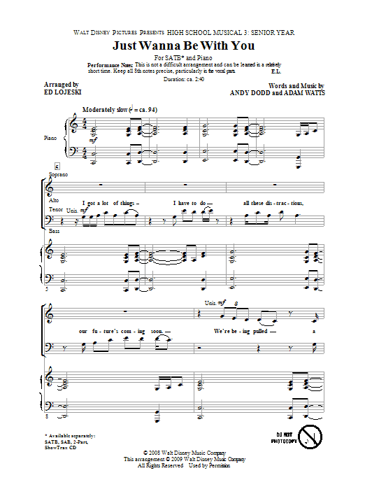 Partition chorale Just Wanna Be With You de High School Musical 3 - SATB