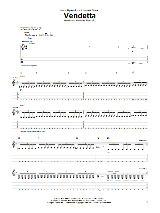 Tablature guitare Vendetta de Slipknot - Tablature Guitare
