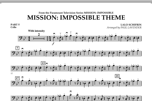mission impossible theme pt 5 cello by lalo schifrin lalo schifrin paul lavender hal. Black Bedroom Furniture Sets. Home Design Ideas