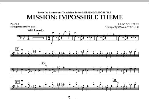 Mission: Impossible Theme (arr. Paul Lavender) - Pt.5 - String/Electric Bass (Concert Band: Flex-Band)