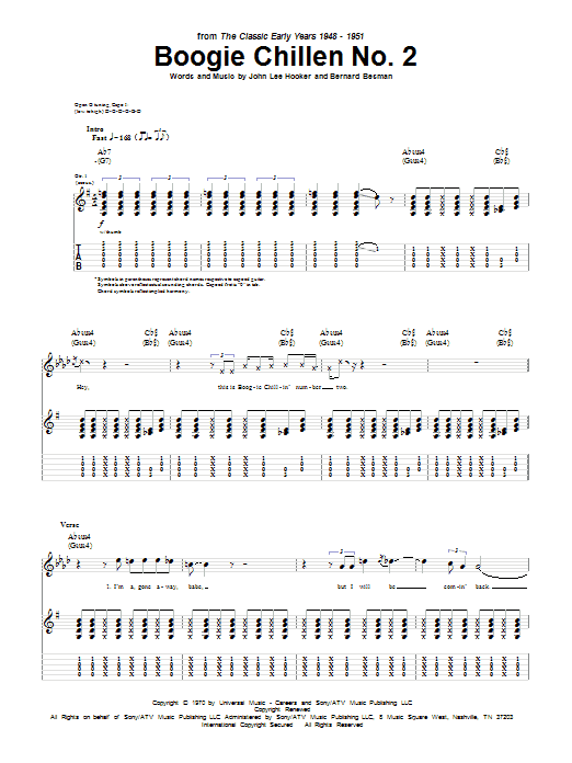 Tablature guitare Boogie Chillen No. 2 de John Lee Hooker - Tablature Guitare