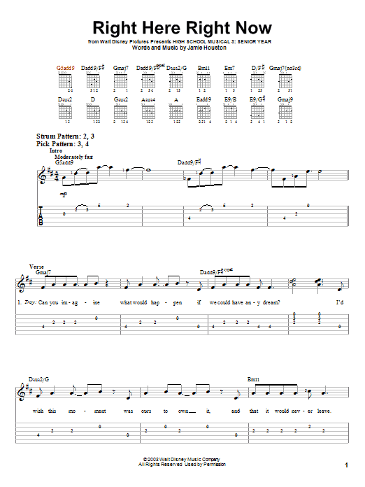 Right Here Right Now (Easy Guitar Tab)
