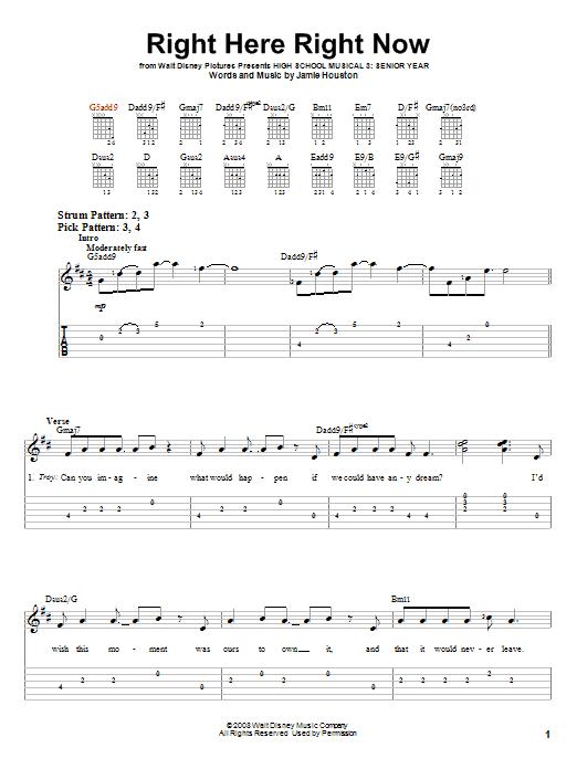 Tablature guitare Right Here Right Now de High School Musical 3 - Tablature guitare facile