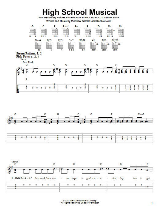 Tablature guitare High School Musical de High School Musical 3 - Tablature guitare facile