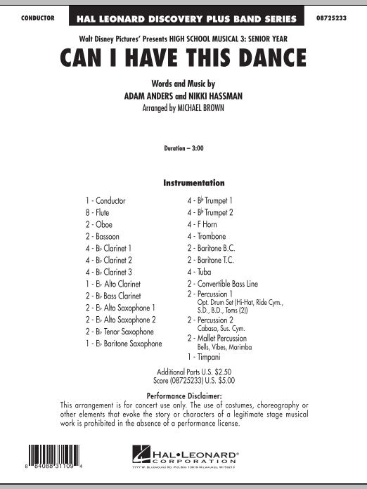 Can I Have This Dance? (from High School Musical 3) (COMPLETE) sheet music for concert band by Nikki Hassman and Michael Brown. Score Image Preview.
