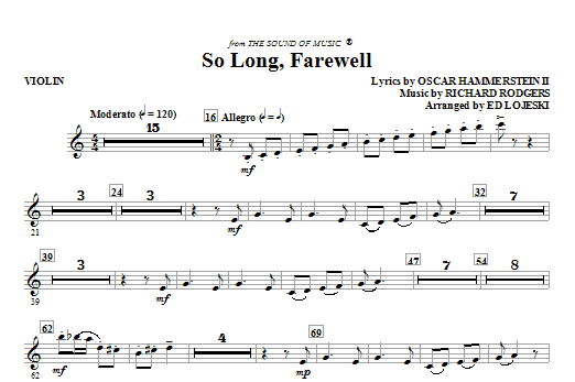 So Long, Farewell (from The Sound Of Music) (complete set of parts) sheet music for orchestra/band (Strings) by Ed Lojeski, Oscar II Hammerstein and Richard Rodgers. Score Image Preview.