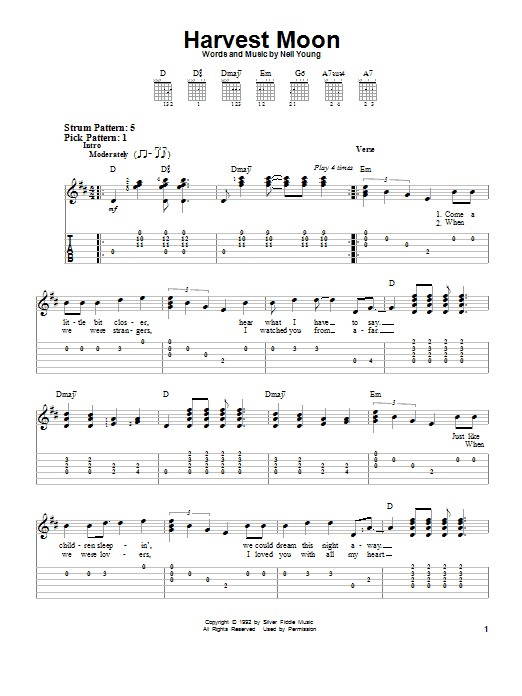 Harvest Moon By Neil Young Easy Guitar Tab Guitar Instructor