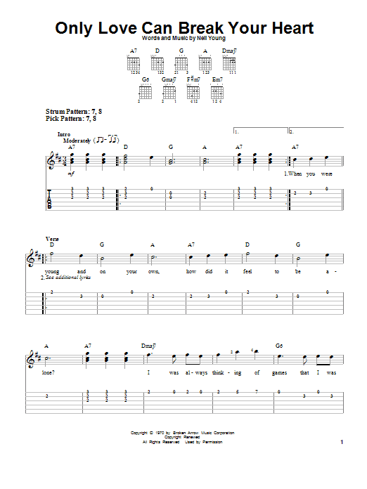 Only Love Can Break Your Heart by Neil Young - Easy Guitar Tab ...