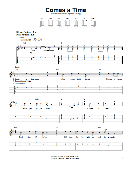 Comes A Time (Easy Guitar Tab)