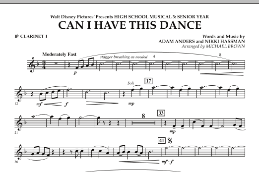 Can I Have This Dance? (from High School Musical 3) - Bb Clarinet 1 (Concert Band)