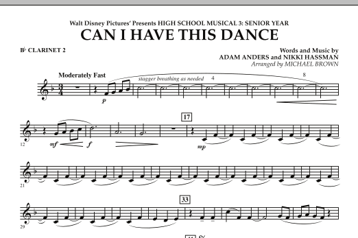 Can I Have This Dance? (from High School Musical 3) - Bb Clarinet 2 (Concert Band)
