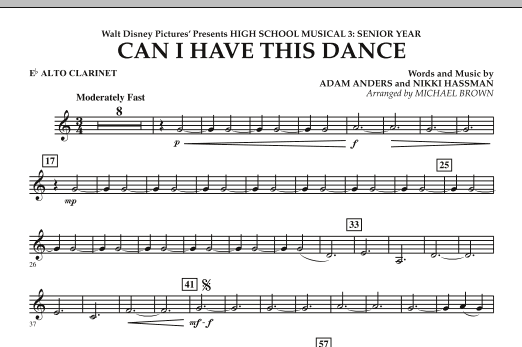 Can I Have This Dance? (from High School Musical 3) - Eb Alto Clarinet (Concert Band)