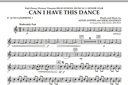Can I Have This Dance? (from High School Musical 3) - Eb Alto Saxophone 2 (Concert Band)
