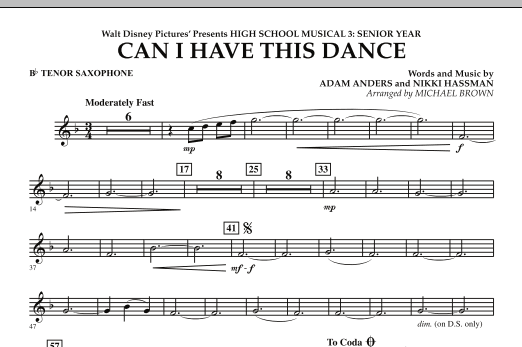 Can I Have This Dance? (from High School Musical 3) - Bb Tenor Saxophone (Concert Band)