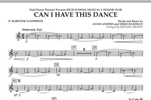 Can I Have This Dance? (from High School Musical 3) - Eb Baritone Saxophone (Concert Band)