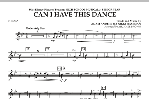Can I Have This Dance? (from High School Musical 3) - F Horn (Concert Band)
