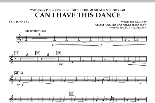 Can I Have This Dance? (from High School Musical 3) - Baritone T.C. (Concert Band)