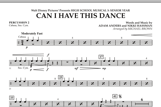 Can I Have This Dance? (from High School Musical 3) - Percussion 2 (Concert Band)