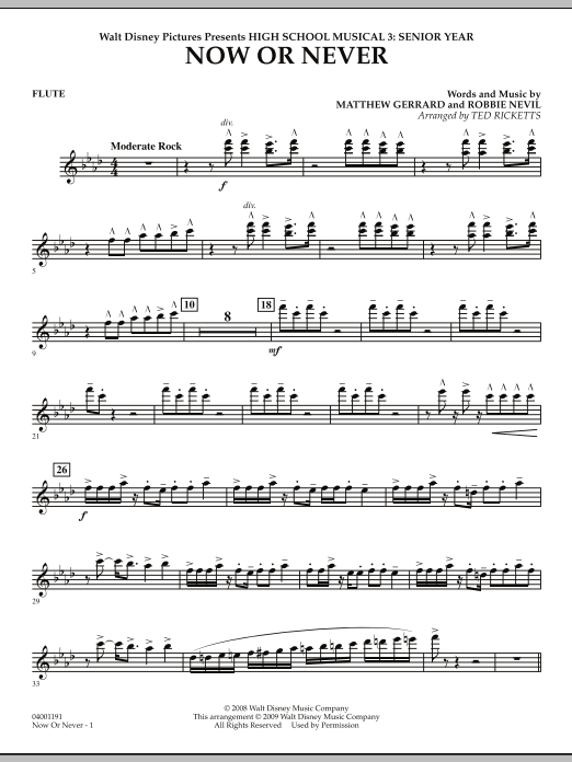 Now or Never (from High School Musical 3) - Flute (Concert Band)