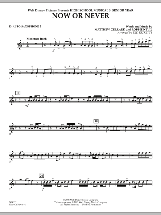 Now or Never (from High School Musical 3) - Eb Alto Saxophone 2 (Concert Band)