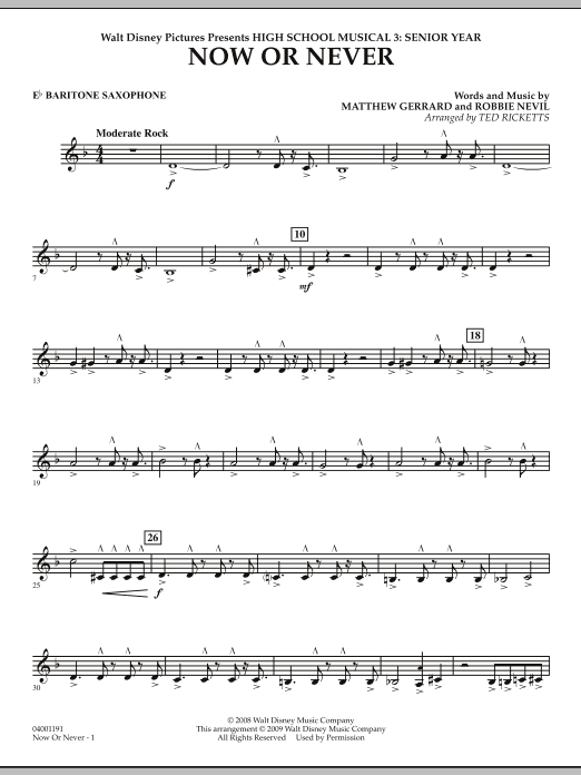 Now or Never (from High School Musical 3) - Eb Baritone Saxophone (Concert Band)