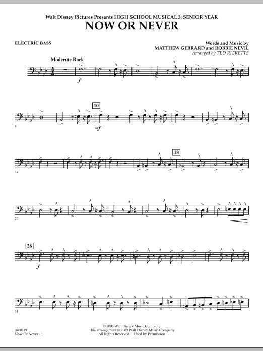 Now or Never (from High School Musical 3) - Electric Bass (Concert Band)