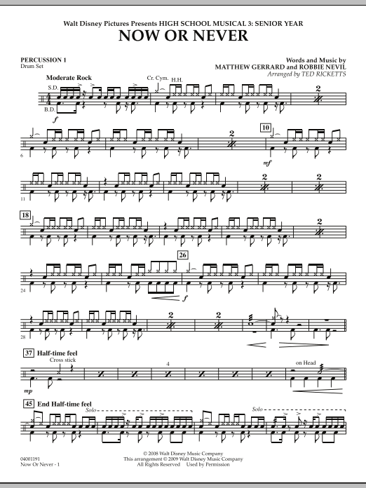 Now or Never (from High School Musical 3) - Percussion 1 (Concert Band)