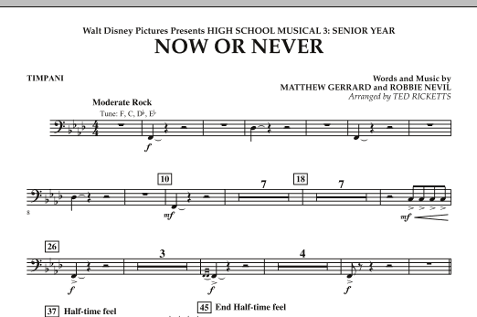 Now or Never (from High School Musical 3) - Timpani (Concert Band)