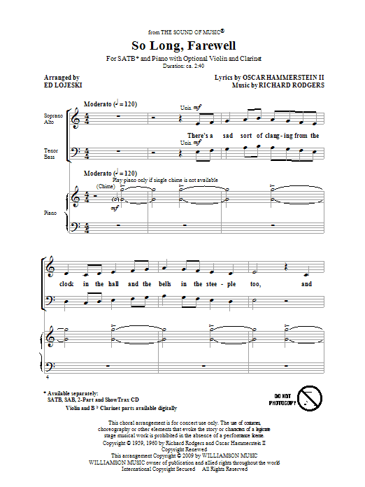 Partition chorale So Long, Farewell (from The Sound Of Music) de Rodgers & Hammerstein - SATB