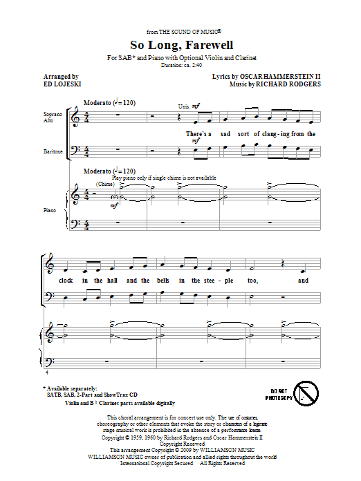 So Long, Farewell (from The Sound Of Music) (arr. Ed Lojeski) Sheet Music