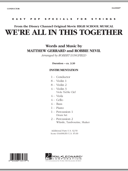 We're All in This Together (from High School Musical) (COMPLETE) sheet music for orchestra by Robert Longfield, Matthew Gerrard and Robbie Nevil. Score Image Preview.