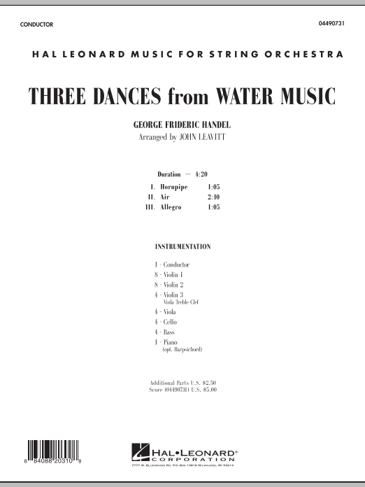 Three Dances from Water Music (COMPLETE) sheet music for orchestra by John Leavitt and George Frideric Handel. Score Image Preview.