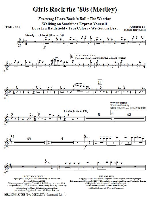 Girls Rock the '80s (Medley) - Tenor Sax (Choir Instrumental Pak)