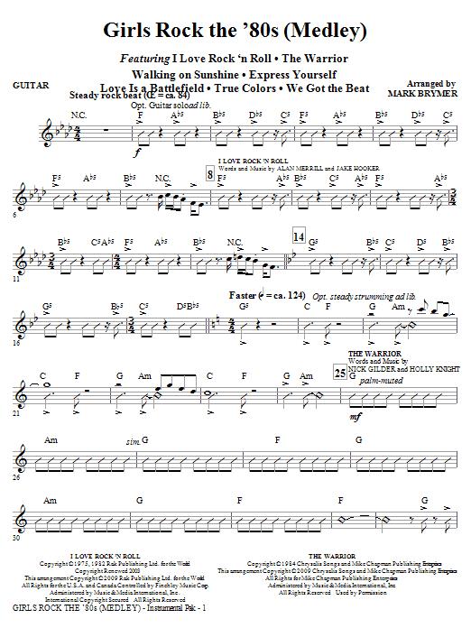 Girls Rock the '80s (Medley) - Guitar (Choir Instrumental Pak)
