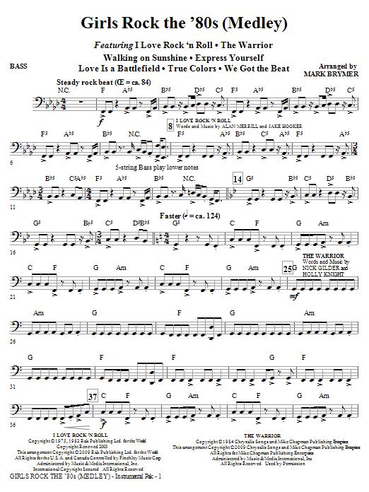 Girls Rock the '80s (Medley) - Bass (Choir Instrumental Pak)