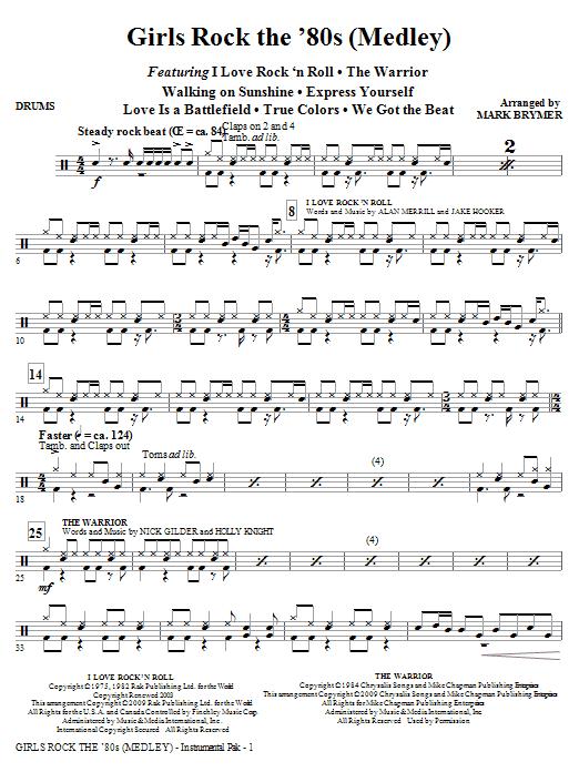 Girls Rock the '80s (Medley) - Drums (Choir Instrumental Pak)