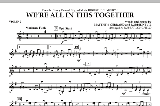 We're All in This Together (from High School Musical) - Violin 2 (Orchestra)