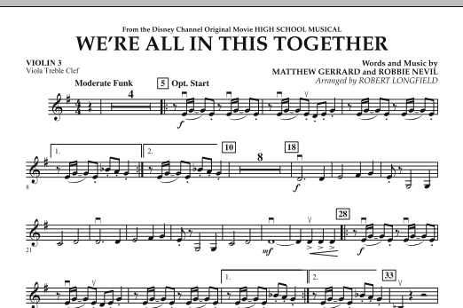 We're All in This Together (from High School Musical) - Violin 3 (Viola T.C.) (Orchestra)