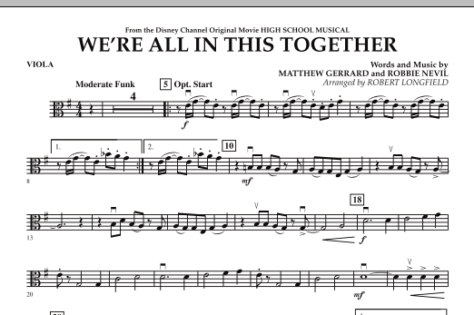 We're All in This Together (from High School Musical) - Viola (Orchestra)