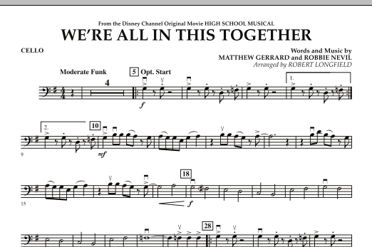 We're All in This Together (from High School Musical) - Cello (Orchestra)