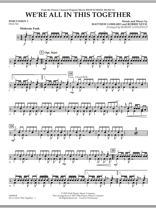 We're All in This Together (from High School Musical) - Percussion 1 (Orchestra)