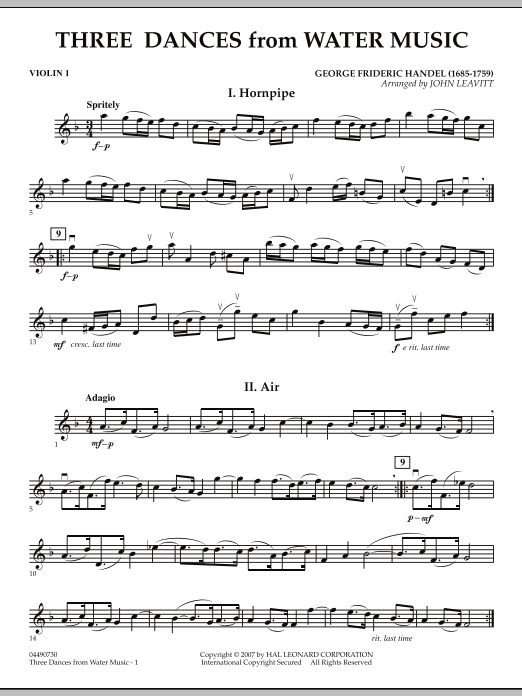 Three Dances from Water Music - Violin 1 (Orchestra)