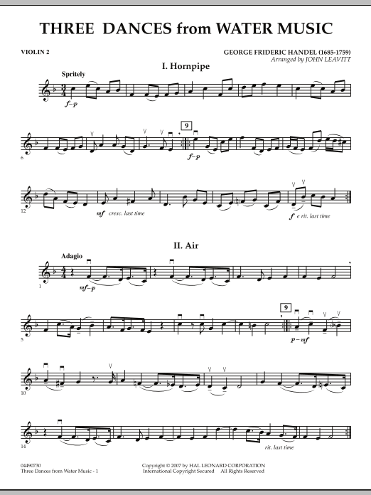 Three Dances from Water Music - Violin 2 (Orchestra)