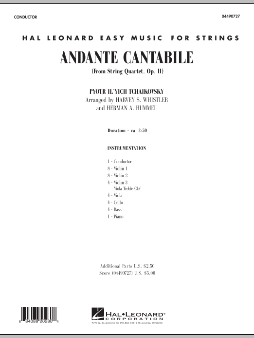 Andante Cantabile (from String Quartet, Op. 11) (COMPLETE) sheet music for orchestra by Pyotr Ilyich Tchaikovsky. Score Image Preview.