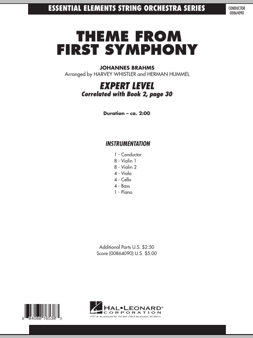Theme from First Symphony (COMPLETE) sheet music for orchestra by Harvey Whistler, Herman Hummel and Johannes Brahms. Score Image Preview.