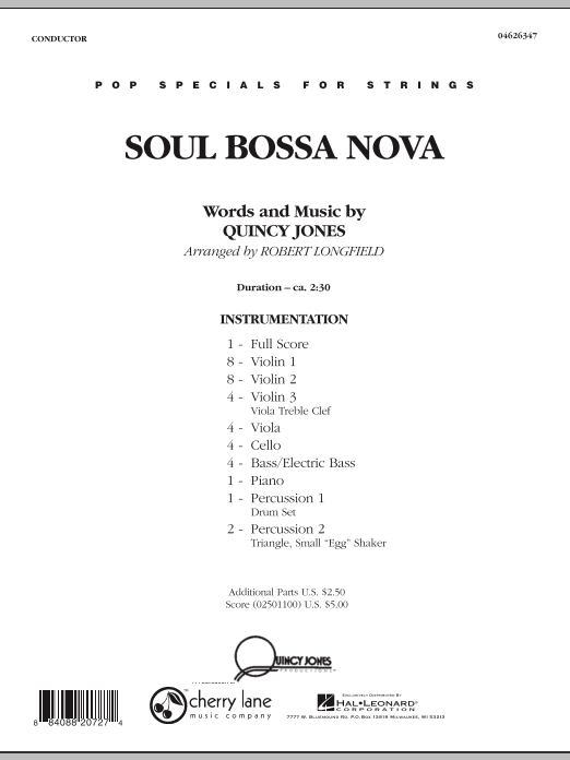 Soul Bossa Nova (COMPLETE) sheet music for orchestra by Robert Longfield and Quincy Jones. Score Image Preview.